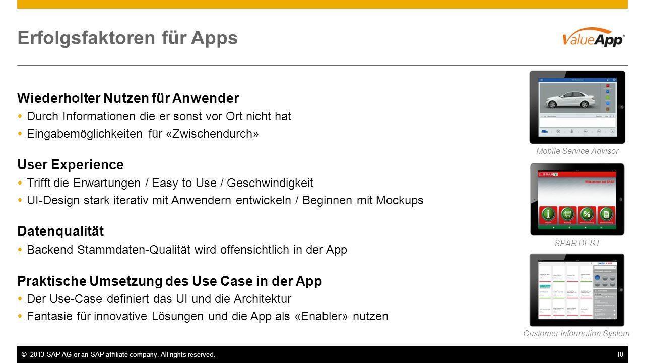 ©2013 SAP AG or an SAP affiliate company. All rights reserved.10 Erfolgsfaktoren für Apps Wiederholter Nutzen für Anwender Durch Informationen die er