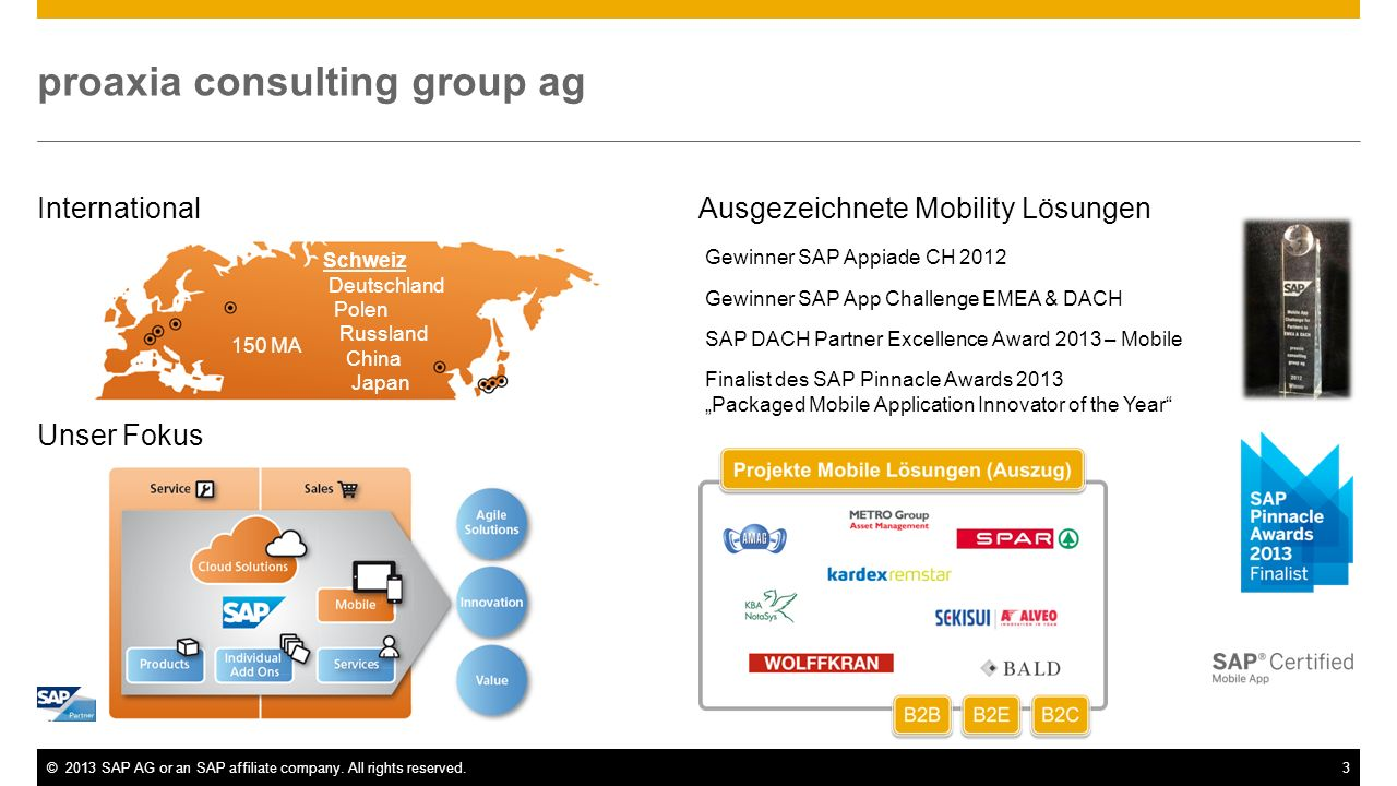 ©2013 SAP AG or an SAP affiliate company. All rights reserved.3 proaxia consulting group ag International Unser Fokus Schweiz Deutschland Polen Russla