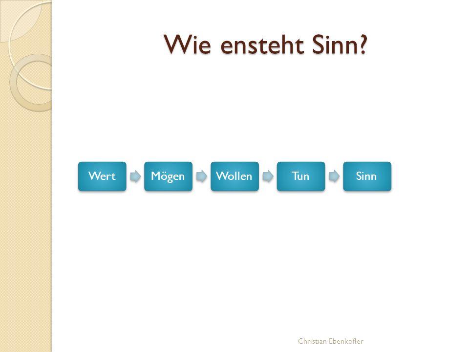 WertMögenWollenTunSinn Wie ensteht Sinn? Christian Ebenkofler
