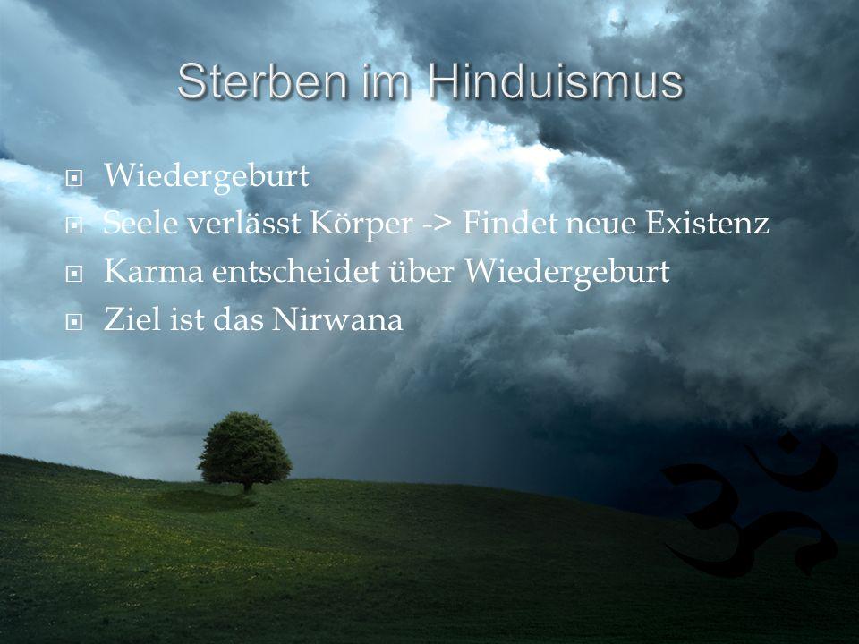 Wiedergeburt Seele verlässt Körper -> Findet neue Existenz Karma entscheidet über Wiedergeburt Ziel ist das Nirwana