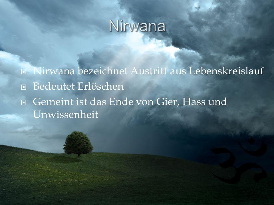 Nirwana bezeichnet Austritt aus Lebenskreislauf Bedeutet Erlöschen Gemeint ist das Ende von Gier, Hass und Unwissenheit