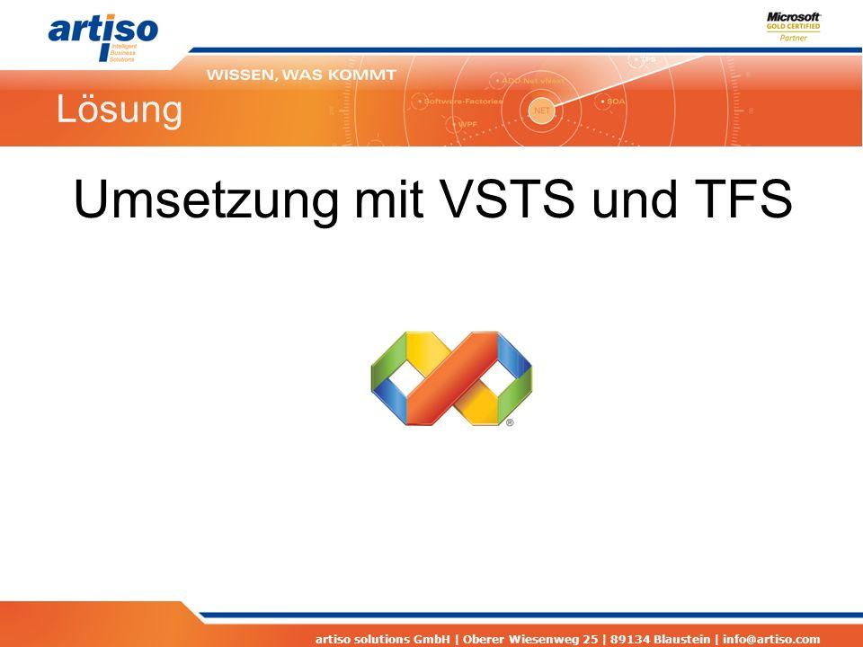 artiso solutions GmbH | Oberer Wiesenweg 25 | 89134 Blaustein | info@artiso.com Lösung Umsetzung mit VSTS und TFS