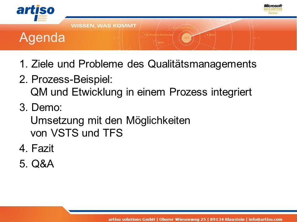 artiso solutions GmbH | Oberer Wiesenweg 25 | 89134 Blaustein | info@artiso.com Agenda 1. Ziele und Probleme des Qualitätsmanagements 2. Prozess-Beisp