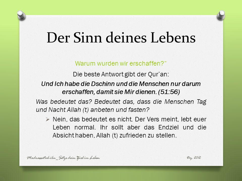 Der Sinn deines Lebens Warum wurden wir erschaffen? Die beste Antwort gibt der Quran: Und Ich habe die Dschinn und die Menschen nur darum erschaffen,