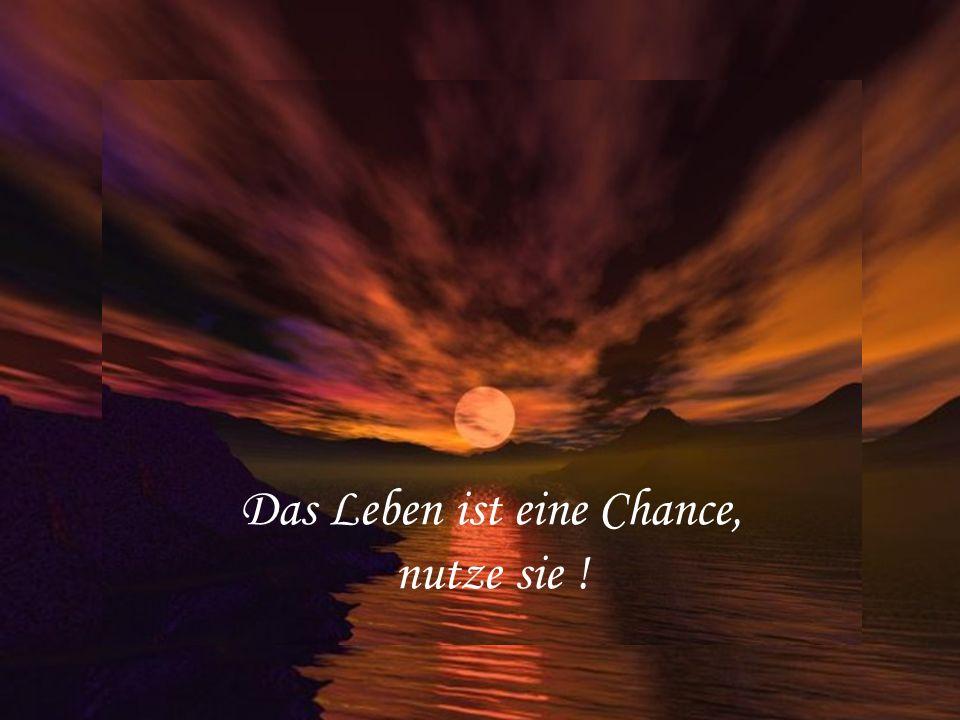 Das Leben ist eine Chance, nutze sie !