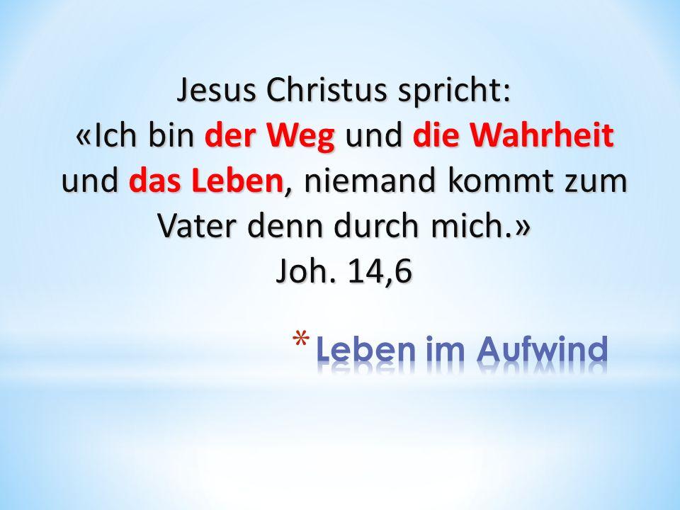 Jesus Christus spricht: «Ich bin der Weg und die Wahrheit und das Leben, niemand kommt zum Vater denn durch mich.» Joh. 14,6