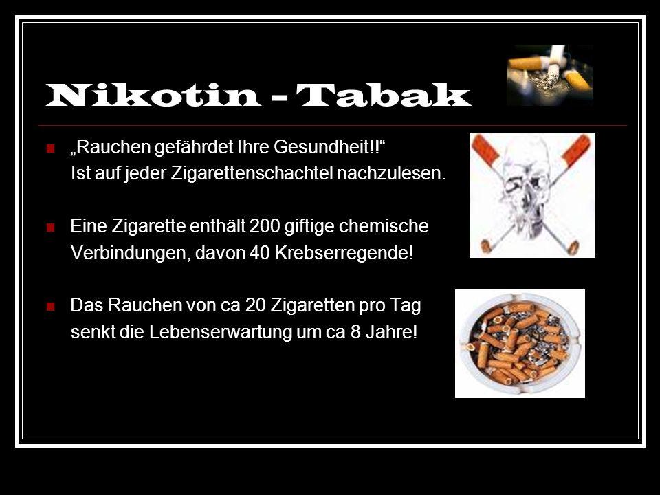 Nikotin - Tabak Rauchen gefährdet Ihre Gesundheit!! Ist auf jeder Zigarettenschachtel nachzulesen. Eine Zigarette enthält 200 giftige chemische Verbin