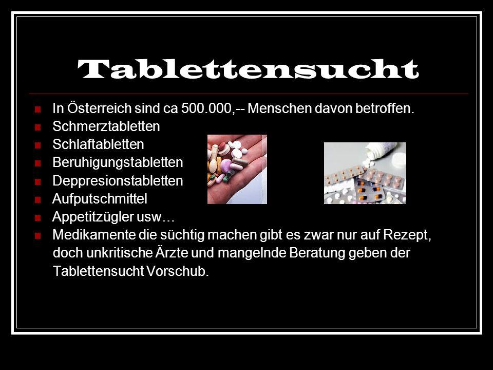 Tablettensucht In Österreich sind ca 500.000,-- Menschen davon betroffen. Schmerztabletten Schlaftabletten Beruhigungstabletten Deppresionstabletten A