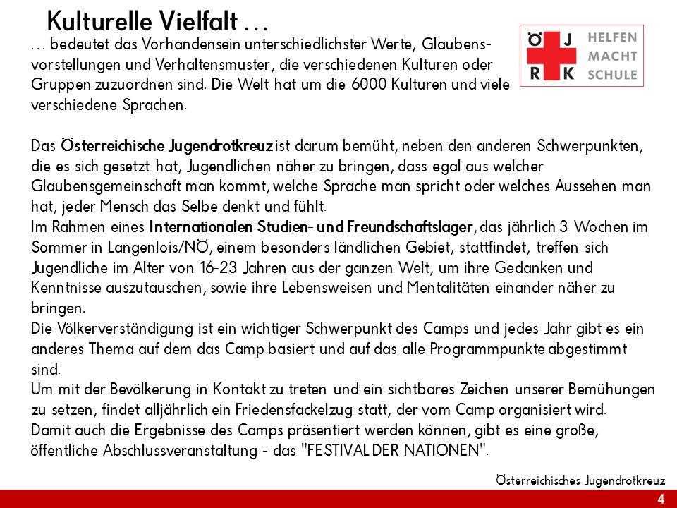 4 Österreichisches Jugendrotkreuz Kulturelle Vielfalt … … bedeutet das Vorhandensein unterschiedlichster Werte, Glaubens- vorstellungen und Verhaltens