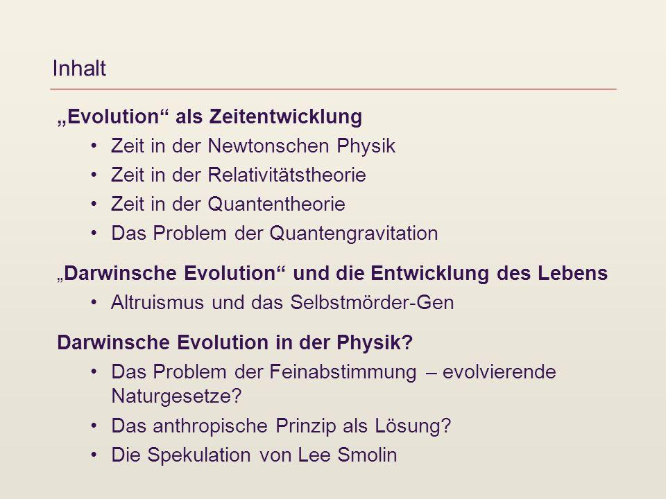 Inhalt Evolution als Zeitentwicklung Zeit in der Newtonschen Physik Zeit in der Relativitätstheorie Zeit in der Quantentheorie Das Problem der Quanten
