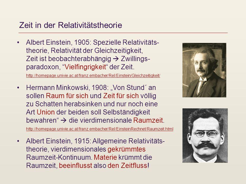 Zeit in der Relativitätstheorie Albert Einstein, 1905: Spezielle Relativitäts- theorie, Relativität der Gleichzeitigkeit, Zeit ist beobachterabhängig