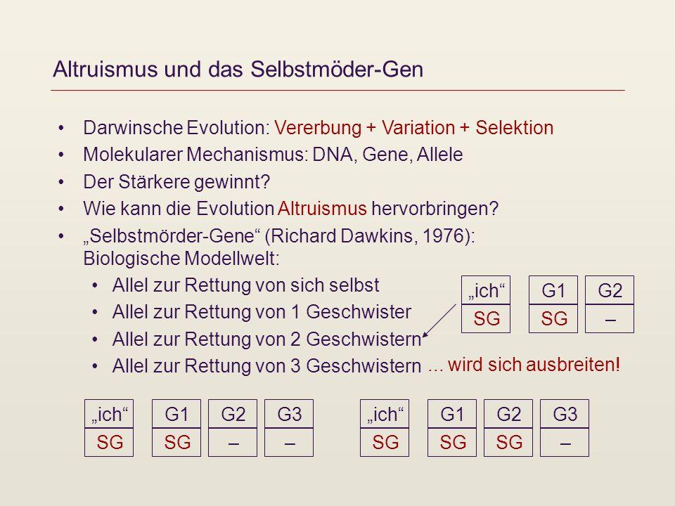 Altruismus und das Selbstmöder-Gen Darwinsche Evolution: Vererbung + Variation + Selektion Molekularer Mechanismus: DNA, Gene, Allele Der Stärkere gew