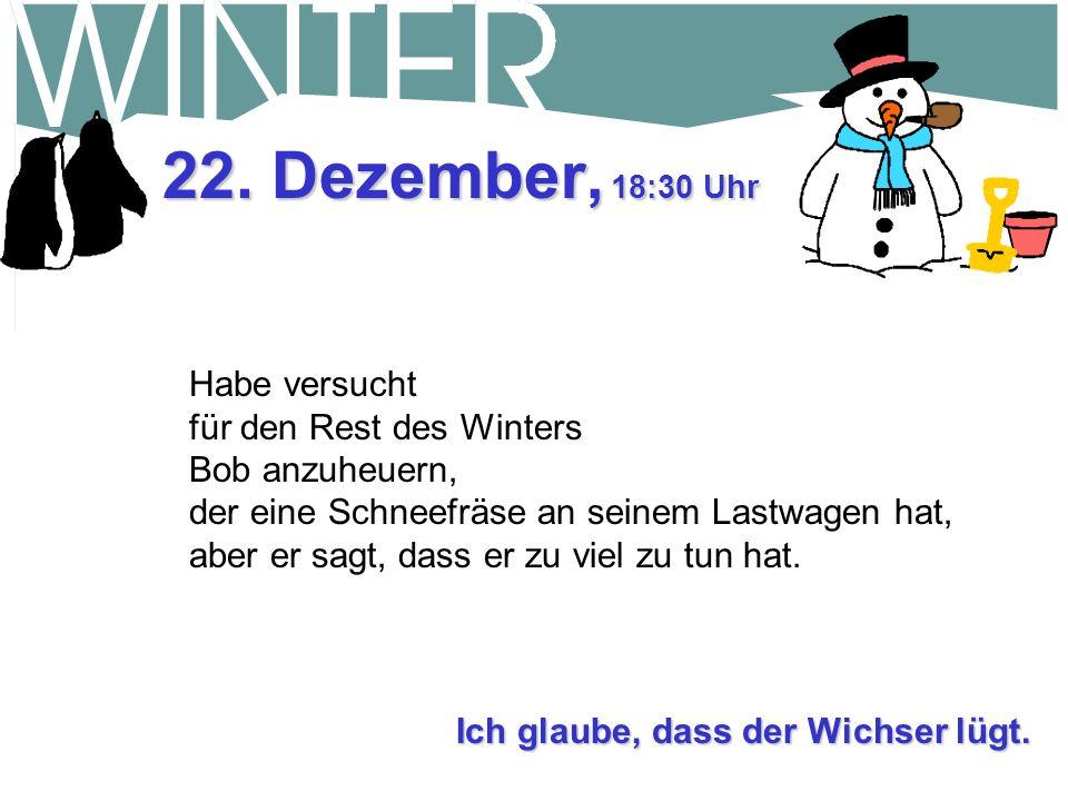 22. Dezember, 10:30 Uhr Bob hatte recht mit weißer Weihnacht, weil heute Nacht noch mal 30 cm von dem weißen Zeug gefallen ist. Es ist so kalt, dass e