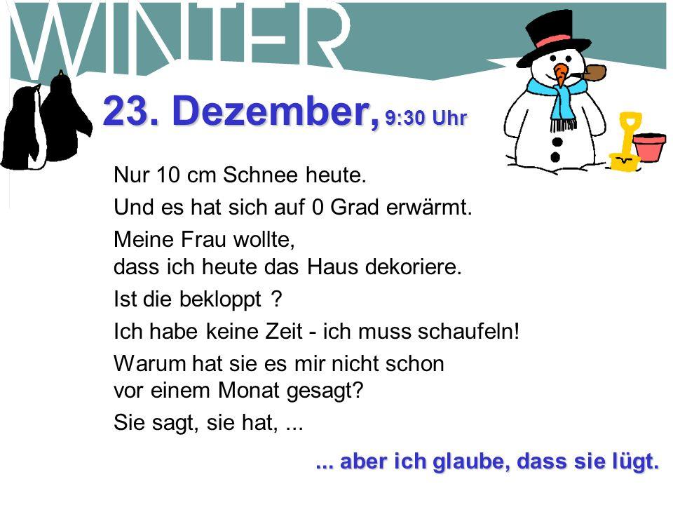22. Dezember, 18:30 Uhr Habe versucht für den Rest des Winters Bob anzuheuern, der eine Schneefräse an seinem Lastwagen hat, aber er sagt, dass er zu