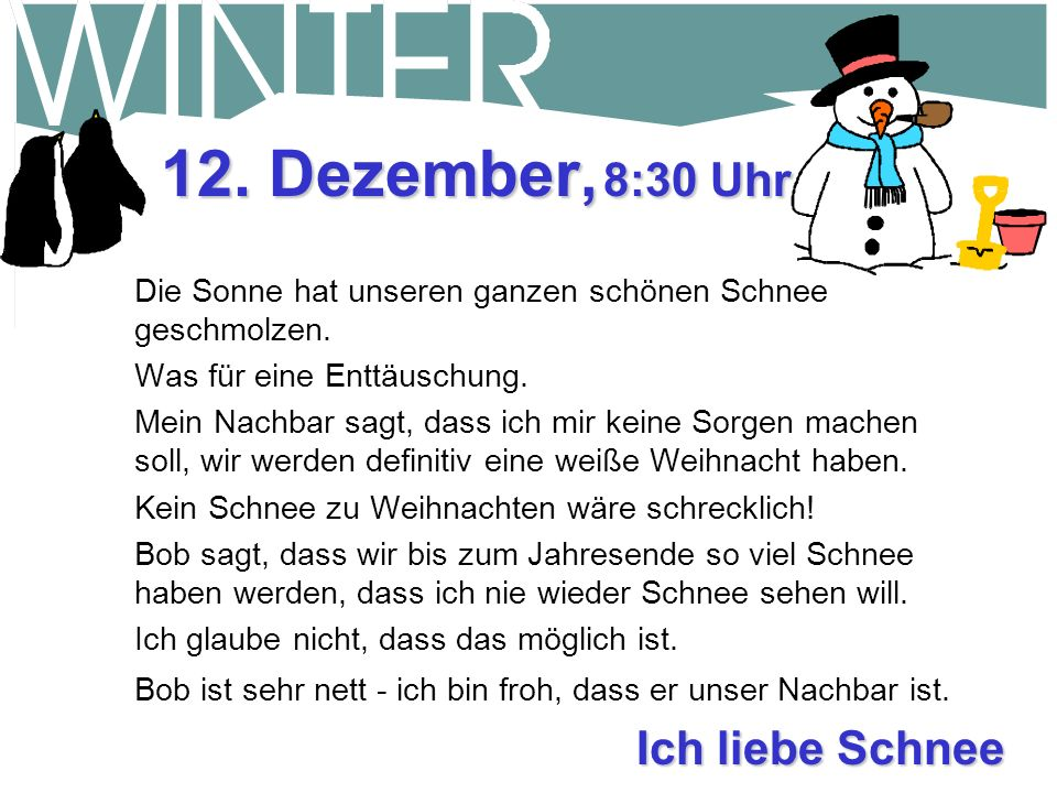 Was für ein tolles Leben! 9. Dezember, 16:00 Uhr Heute Nachmittag kam der Schneepflug vorbei. Er hat den Bürgersteig und die Einfahrt wieder zugeschob