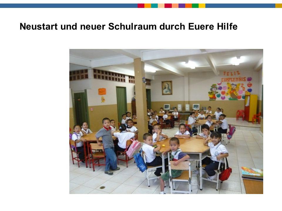 Neuer Schulraum Neustart und neuer Schulraum durch Euere Hilfe