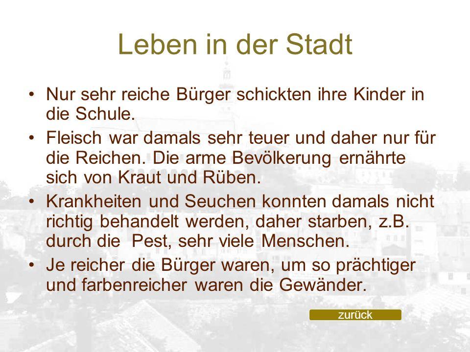 Leben in der Stadt Nur sehr reiche Bürger schickten ihre Kinder in die Schule. Fleisch war damals sehr teuer und daher nur für die Reichen. Die arme B