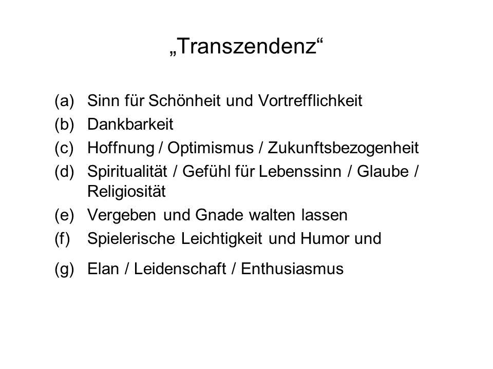 Transzendenz (a)Sinn für Schönheit und Vortrefflichkeit (b)Dankbarkeit (c)Hoffnung / Optimismus / Zukunftsbezogenheit (d)Spiritualität / Gefühl für Le