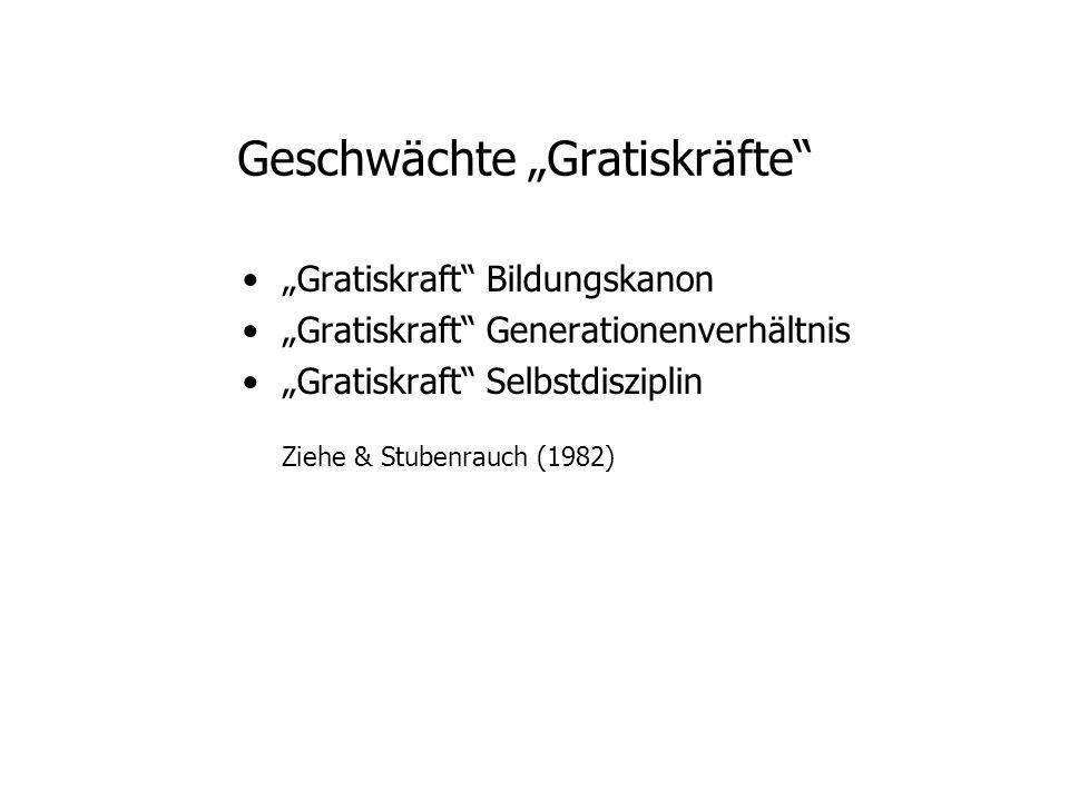 Geschwächte Gratiskräfte Gratiskraft Bildungskanon Gratiskraft Generationenverhältnis Gratiskraft Selbstdisziplin Ziehe & Stubenrauch (1982)