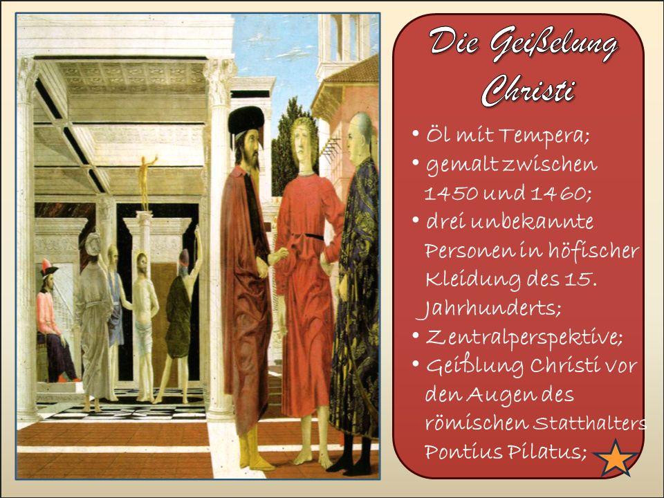 >>0 >>1 >> 2 >> 3 >> 4 >> Öl mit Tempera; gemalt zwischen 1450 und 1460; drei unbekannte Personen in höfischer Kleidung des 15.