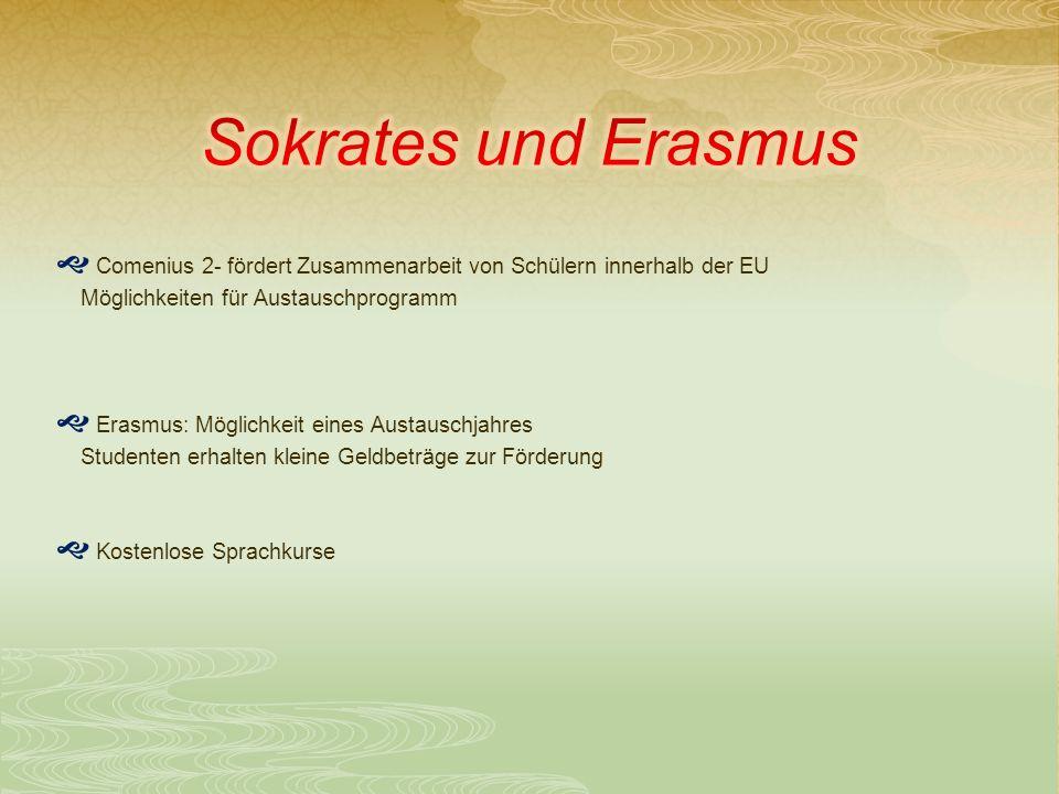 Comenius 2- fördert Zusammenarbeit von Schülern innerhalb der EU Möglichkeiten für Austauschprogramm Erasmus: Möglichkeit eines Austauschjahres Studenten erhalten kleine Geldbeträge zur Förderung Kostenlose Sprachkurse