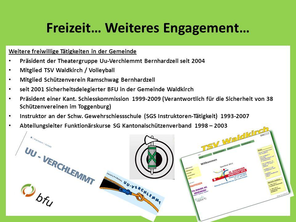 Freizeit… Weiteres Engagement… Weitere freiwillige Tätigkeiten in der Gemeinde Präsident der Theatergruppe Uu-Verchlemmt Bernhardzell seit 2004 Mitgli