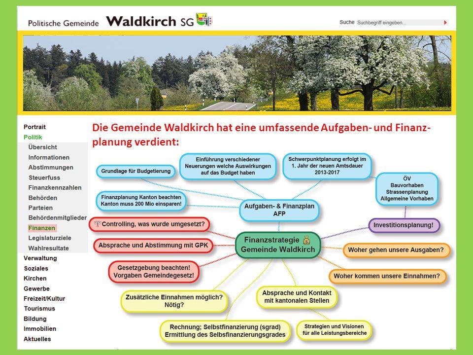 Die Gemeinde Waldkirch hat eine umfassende Aufgaben- und Finanz- planung verdient: