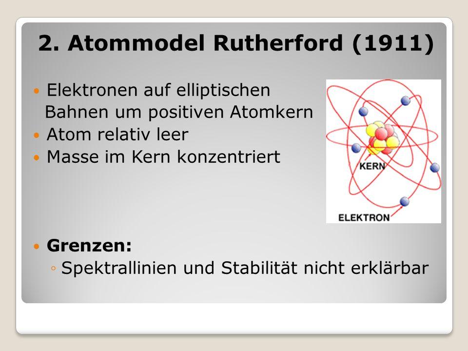 2. Atommodel Rutherford (1911) Elektronen auf elliptischen Bahnen um positiven Atomkern Atom relativ leer Masse im Kern konzentriert Grenzen: Spektral