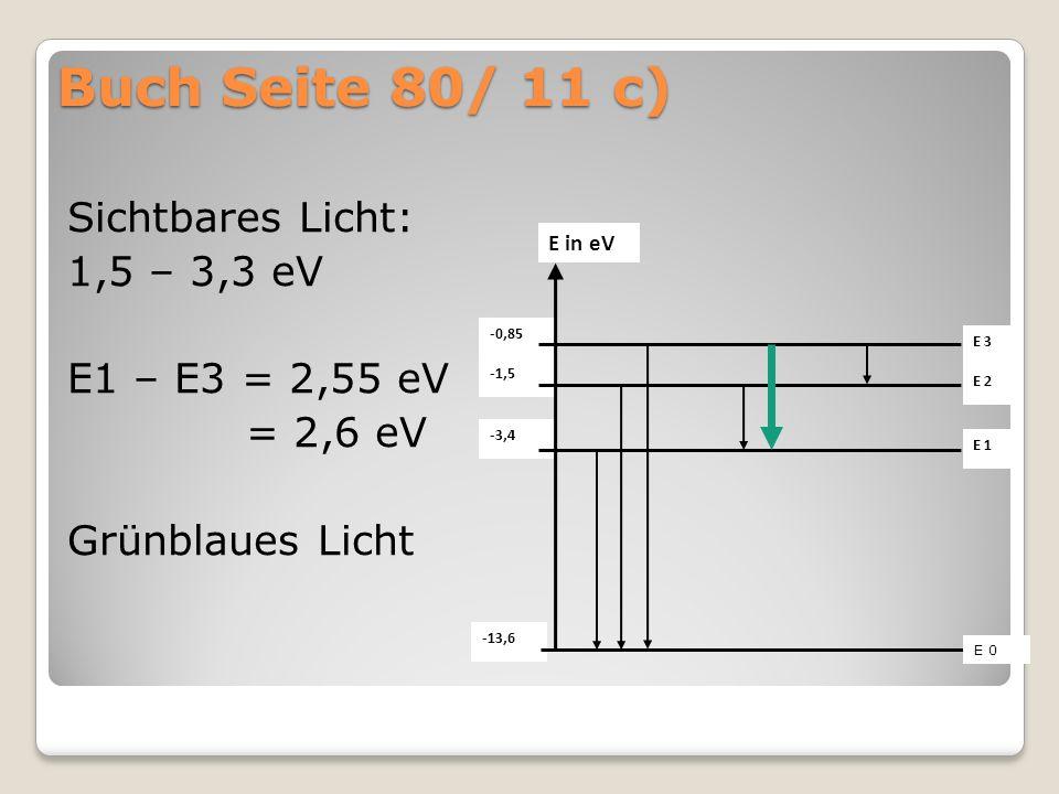 Buch Seite 80/ 11 c) Sichtbares Licht: 1,5 – 3,3 eV E1 – E3 = 2,55 eV = 2,6 eV Grünblaues Licht -13,6 -3,4 -1,5 -0,85 E in eV E 3 E 1 E 2 E 0