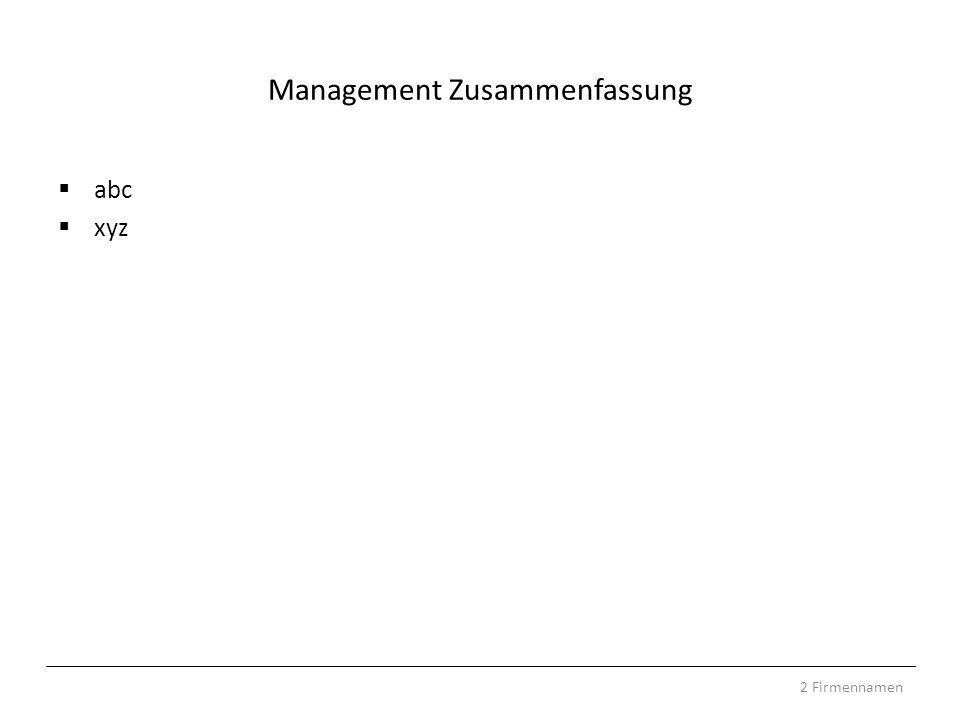 Management Zusammenfassung abc xyz 2 Firmennamen