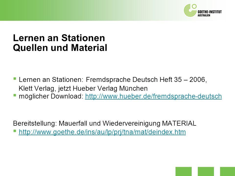 Lernen an Stationen: Fremdsprache Deutsch Heft 35 – 2006, Klett Verlag, jetzt Hueber Verlag München möglicher Download: http://www.hueber.de/fremdspra