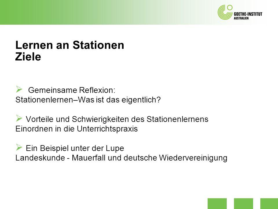 Lernen an Stationen Gliederung 1.Was ist Stationslernen.