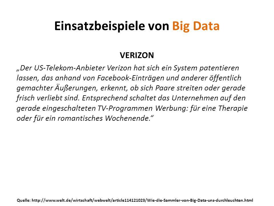 VERIZON Der US-Telekom-Anbieter Verizon hat sich ein System patentieren lassen, das anhand von Facebook-Einträgen und anderer öffentlich gemachter Äuß