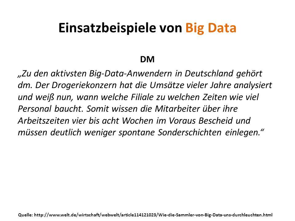 DM Zu den aktivsten Big-Data-Anwendern in Deutschland gehört dm. Der Drogeriekonzern hat die Umsätze vieler Jahre analysiert und weiß nun, wann welche