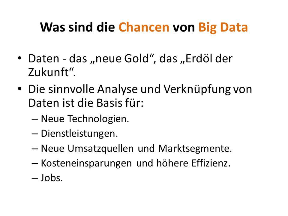 Daten - das neue Gold, das Erdöl der Zukunft. Die sinnvolle Analyse und Verknüpfung von Daten ist die Basis für: – Neue Technologien. – Dienstleistung