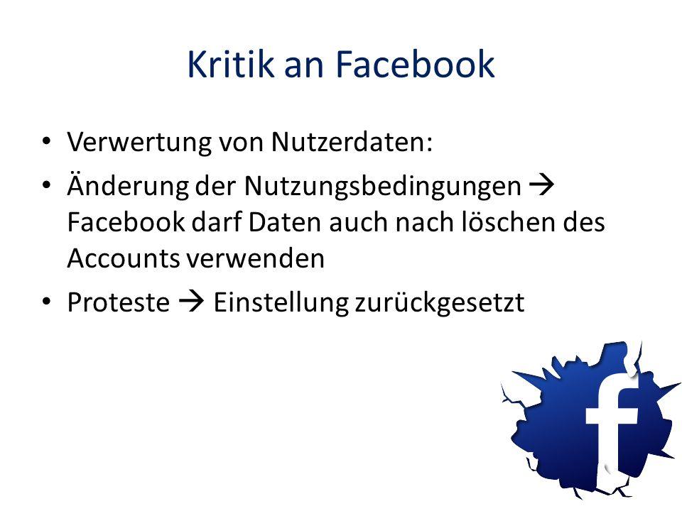 Kritik an Facebook Verwertung von Nutzerdaten: Änderung der Nutzungsbedingungen Facebook darf Daten auch nach löschen des Accounts verwenden Proteste