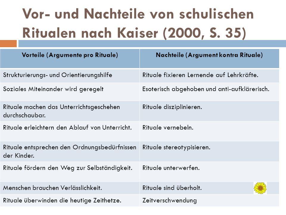 Vor- und Nachteile von schulischen Ritualen nach Kaiser (2000, S. 35) Vorteile (Argumente pro Rituale)Nachteile (Argument kontra Rituale) Strukturieru