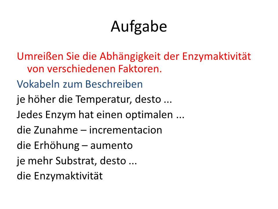 Aufgabe Umreißen Sie die Abhängigkeit der Enzymaktivität von verschiedenen Faktoren. Vokabeln zum Beschreiben je höher die Temperatur, desto... Jedes