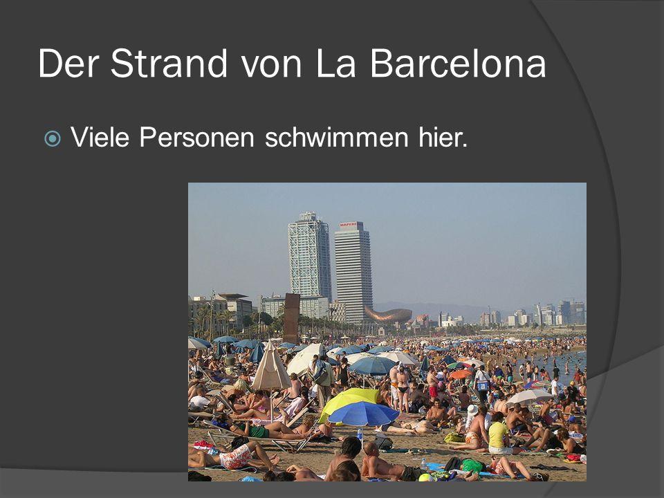 Der Strand von La Barcelona Viele Personen schwimmen hier.