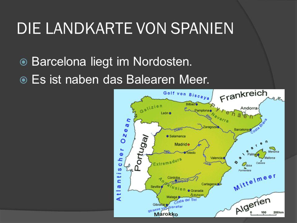 DIE LANDKARTE VON SPANIEN Barcelona liegt im Nordosten. Es ist naben das Balearen Meer.