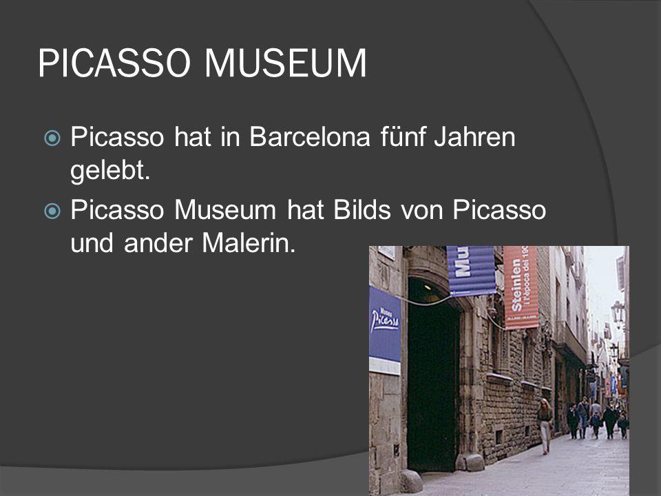 PICASSO MUSEUM Picasso hat in Barcelona fünf Jahren gelebt. Picasso Museum hat Bilds von Picasso und ander Malerin.