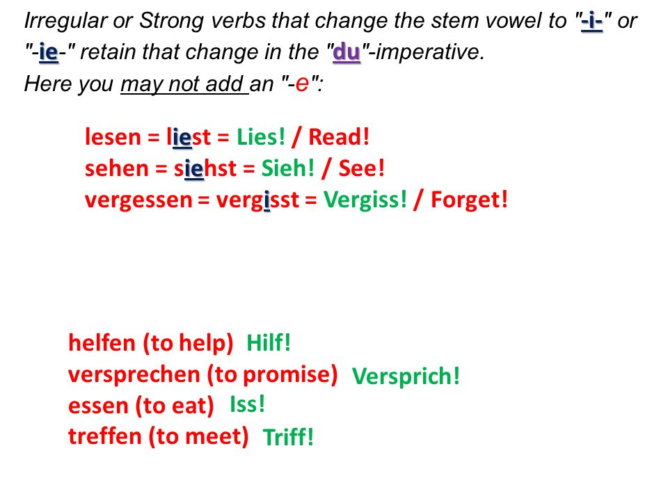 Unlike other verbs, sein, wissen und werden do not change.