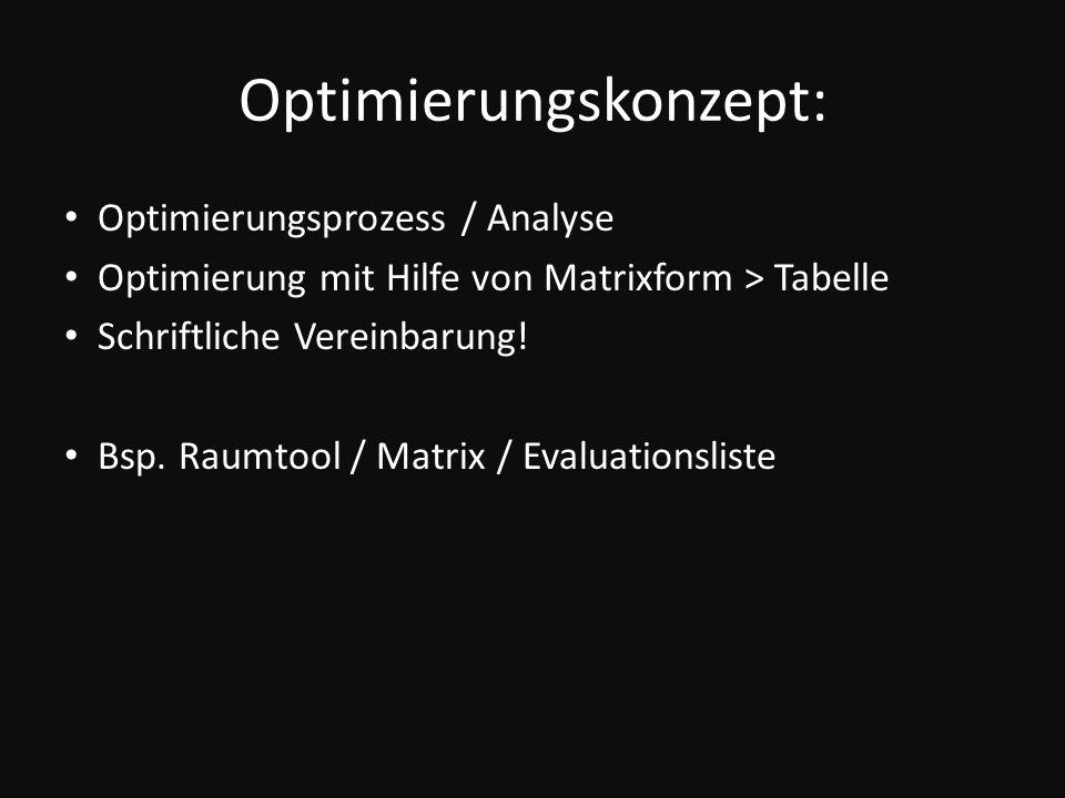 Optimierungskonzept: Optimierungsprozess / Analyse Optimierung mit Hilfe von Matrixform > Tabelle Schriftliche Vereinbarung! Bsp. Raumtool / Matrix /