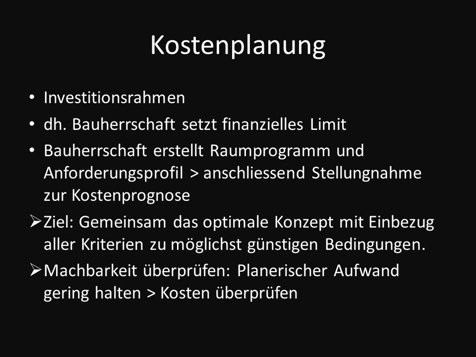Kostenplanung Investitionsrahmen dh.