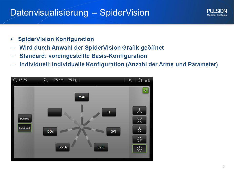 SpiderVision Konfiguration Wird durch Anwahl der SpiderVision Grafik geöffnet Standard: voreingestellte Basis-Konfiguration Individuell: individuelle