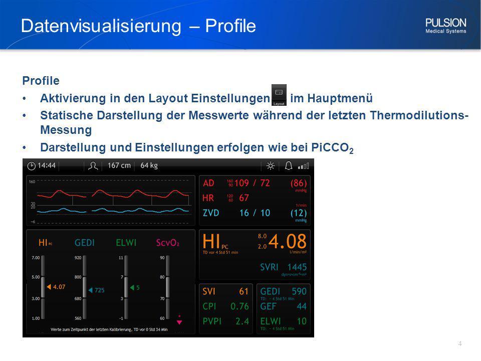 Datenvisualisierung – Profile 4 Profile Aktivierung in den Layout Einstellungen im Hauptmenü Statische Darstellung der Messwerte während der letzten T