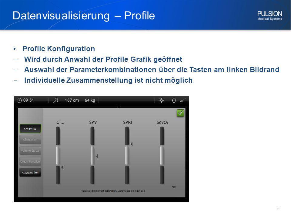 Datenvisualisierung – Profile 5 Profile Konfiguration Wird durch Anwahl der Profile Grafik geöffnet Auswahl der Parameterkombinationen über die Tasten