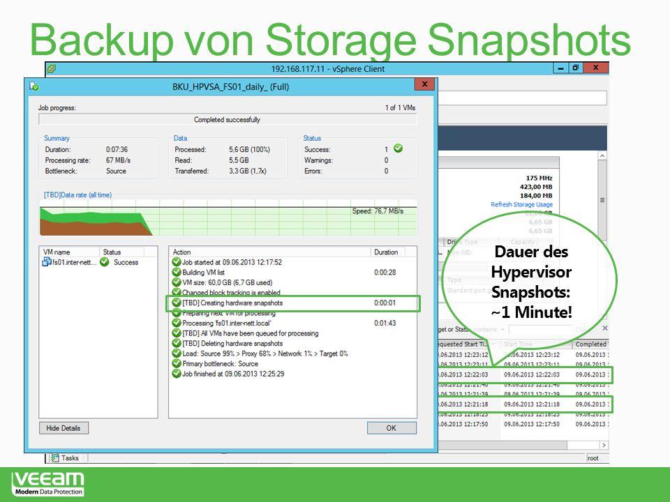 Dauer des Hypervisor Snapshots: ~1 Minute!