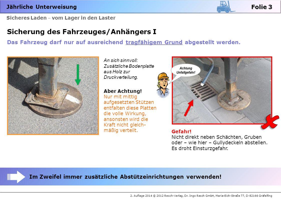 Jährliche Unterweisung 2. Auflage 2014 © 2012 Resch-Verlag, Dr. Ingo Resch GmbH, Maria-Eich-Straße 77, D-82166 Gräfelfing Sicheres Laden vom Lager in