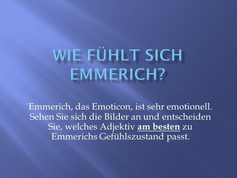 Emmerich, das Emoticon, ist sehr emotionell. Sehen Sie sich die Bilder an und entscheiden Sie, welches Adjektiv am besten zu Emmerichs Gefühlszustand